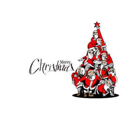 Christmas santa tree background Cartoon Style Hand Sketchy drawing of a funny Santa Claus, vector illustration. Vectores