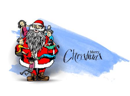 Little cute boy and girls hugging Santa Claus - Christmas Scene. vector illustration.