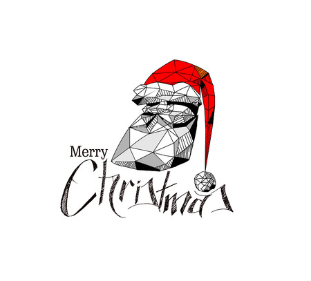 3D wireframe render funny cartoon character of Santa Claus, happy christmas icon, happy Grandpa isolated on white background