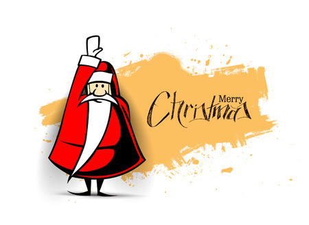 Christmas Background Santa Claus hand up try to fly isolate white background, vector illustration