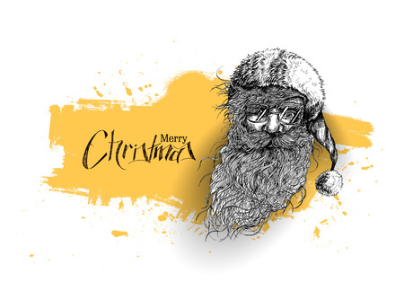 Face of christmas character Santa Claus, Cartoon style Santa Claus design. Merry Christmas - vector illustration