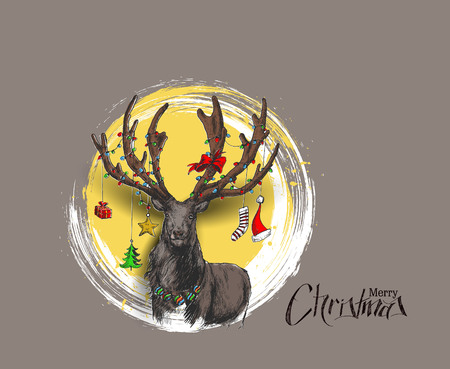 Happy Christmas - Cartoon Style Hand Sketchy drawing of reindeer, vector illustration
