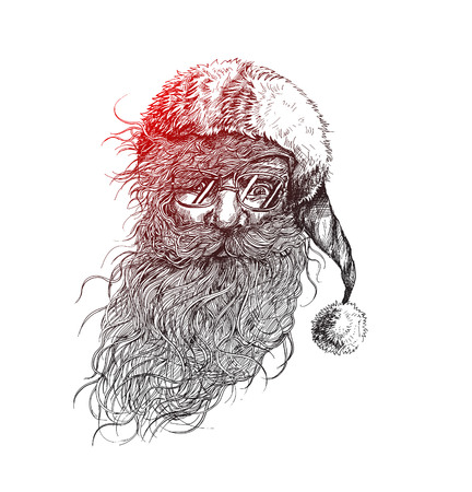 Face of christmas character Santa Claus, Cartoon style Santa Claus design. Merry Christmas - vector illustration