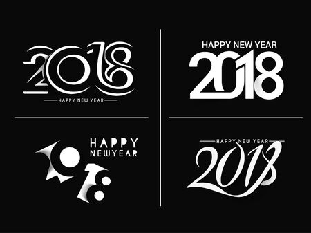 Set of Happy New Year 2018 Text Design Patter, Vector illustration.