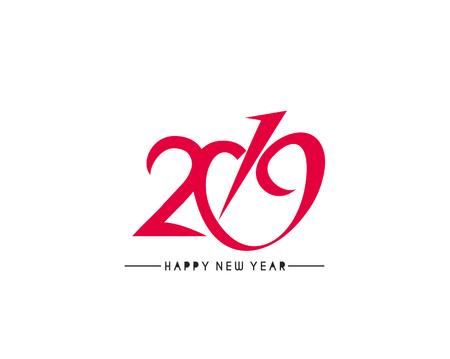 Happy new year 2019 Text Design Vector illustration