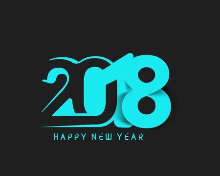 Happy new year 2018 Text Design Vector illustration