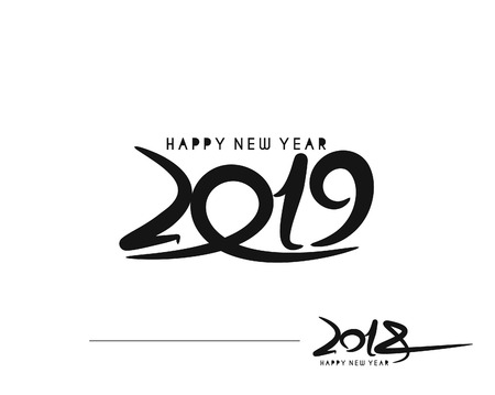 Happy new year 2019 - 2018 Text Design Vector illustration
