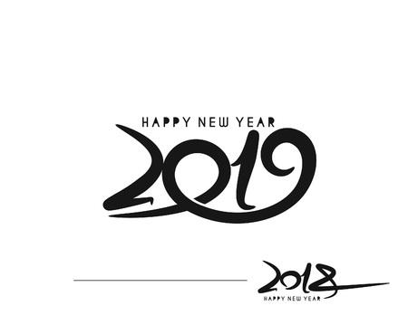 Gelukkig nieuw jaar 2019-2018 tekstontwerp vectorillustratie