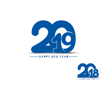 Happy new year 2019 - 2018 Text Design Vector illustration