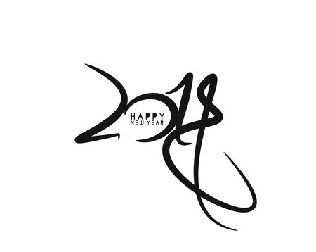 Happy New Year 2018 Text Design Patter, Vector illustration. Illustration