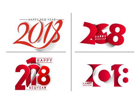 Happy new year 2018 Text Design  patter Vector illustration Illustration