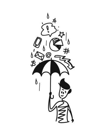 Man holding umbrella under the rain drop with doodles Vectores