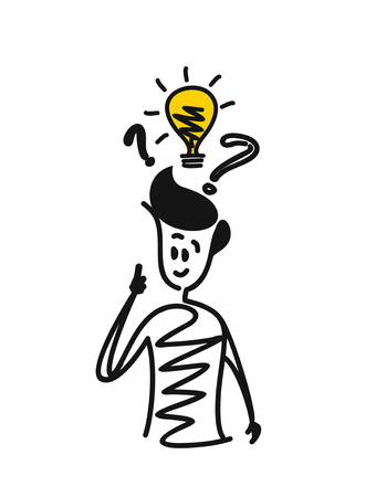 Man with question marks and light bulb idea Illustration