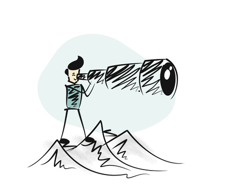 Man watching through telescope at the top of the mountain.