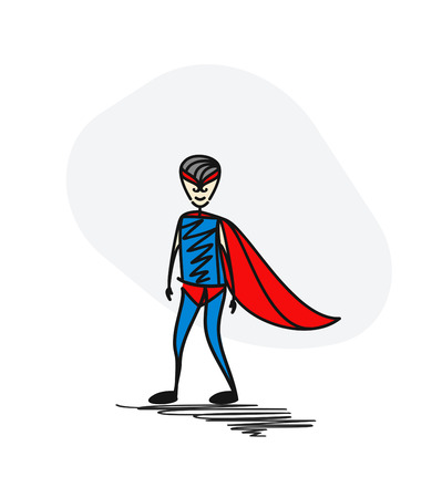Superhero traditional clothing with wearing mask. Hero concept. Hand Drawn Cartoon Vector Background.
