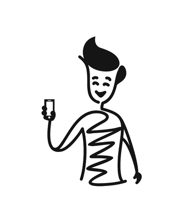 Man hand holding blank screen phone, Cartoon Hand Drawn Sketch Vector illustration. Illustration