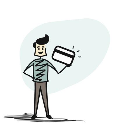 Man Hand holding credit card, Cartoon Hand Drawn sketch concept vector illustration. Illustration