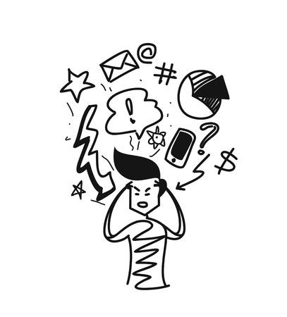 Man thinking concept doodles icons set, Cartoon Hand Drawn Sketch Vector illustration.