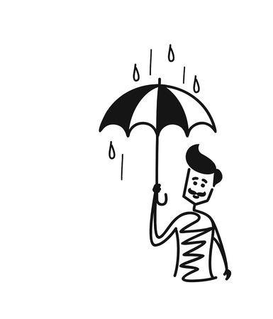 Man holding umbrella under the rain drop, Cartoon Hand Drawn Sketch Vector illustration.
