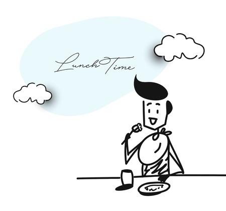 Man having dinner in a restaurant - Office, Cartoon Hand Drawn Sketch Vector illustration.