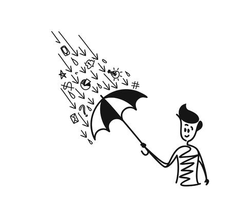 Man holding umbrella under the rain drop with doodle, Cartoon Hand Drawn Sketch Vector illustration.