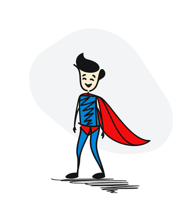 Superhero traditional clothing standing. Hero concept. Hand Drawn Cartoon Vector Background.