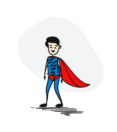 Super businessman. Success business concept. Cartoon Cartoon Vector background.