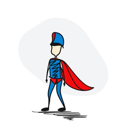Policeman superhero traditional clothing standing. Hero concept. Hand Drawn Cartoon Vector Background.