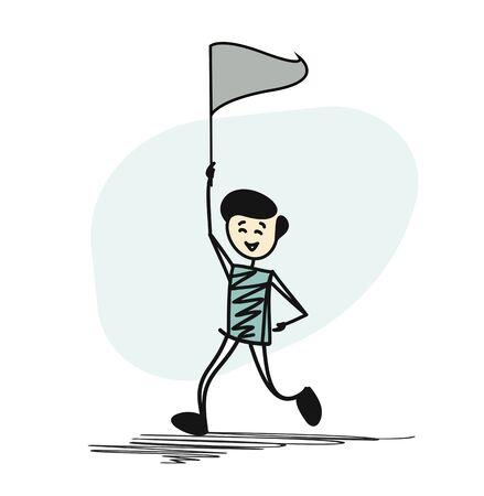 Man with flag running. Cartoon Hand Drawn Sketch Vector illustration.