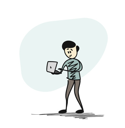 Business man working with laptop. Cartoon Vector background.