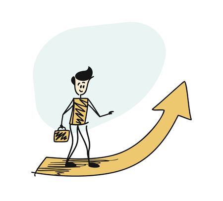 Man holding briefcase standing in front of a big arrow pointing up. Cartoon Vector background. briefcase