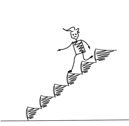 Man on Down Stairs, Cartoon Hand Drawn Vector Background.