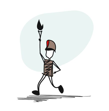 The athlete runs down the road. He is holding the Olympic torch. Illustration