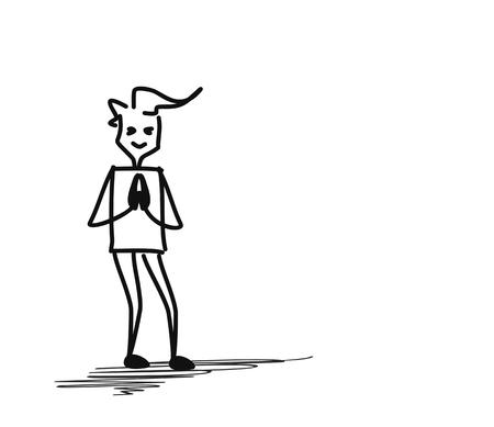 Man greeting namaste posture, Cartoon Hand Drawn Sketch Vector illustration.