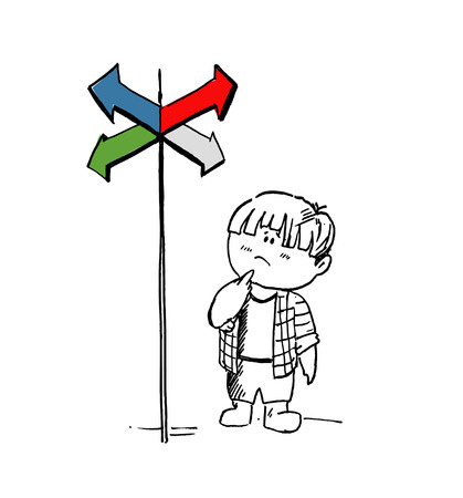 Little fatty boy in doubt, having to choose between right choices indicated by arrows direction concept. Cartoon Hand Drawn Sketch Vector illustration. Illustration