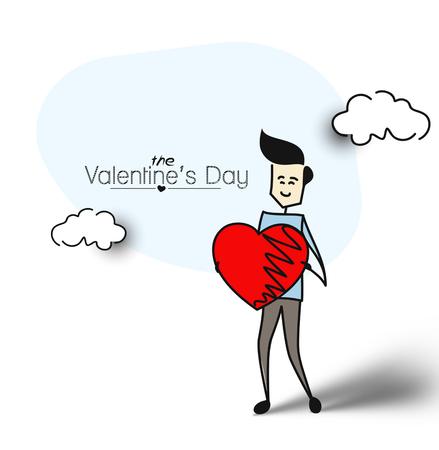 Friendly man holding red heart, Flat design. Cartoon Hand Drawn Sketch Vector Background.