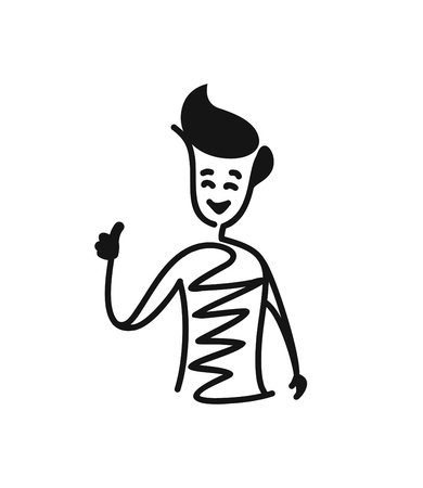 Man shows hands thumbs up, Cartoon Hand Drawn Sketch Vector illustration.