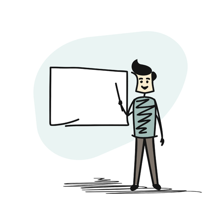 Professor in front of a black board, Cartoon Hand Drawn Sketch Vector Background. Illustration
