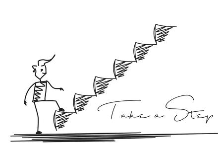 Uomo che fa punto seguente o risultato, fondo disegnato a mano di vettore del fumetto. Vettoriali
