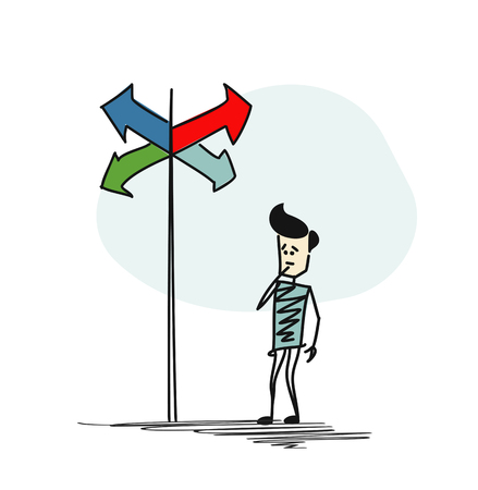 Man in doubt, having to choose between right choices indicated by arrows direction concept. Cartoon Hand Drawn Sketch Vector illustration.