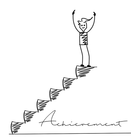 Man on top of the stairs, Cartoon Hand Drawn Vector Background.