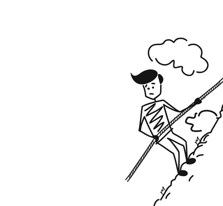 Alpinist climbing up high mountain with special cable rope alone. Hand Drawn Sketch Vector illustration.