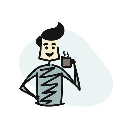 Man holding cup of tea - coffee, Cartoon Hand Drawn Sketch Vector illustration. Illustration