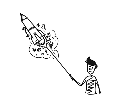 Man raunching rocket with doodles element, Cartoon Hand Drawn Sketch Vector illustration.