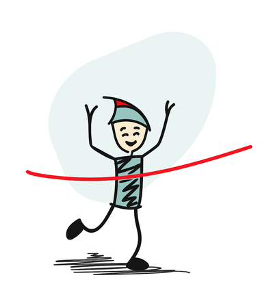 Success Man winning race and coming first to finish red ribbon. Cartoon Vector background.