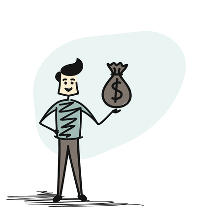 Successful Businessman holding money bag, Cartoon sketch concept isolated vector illustration.