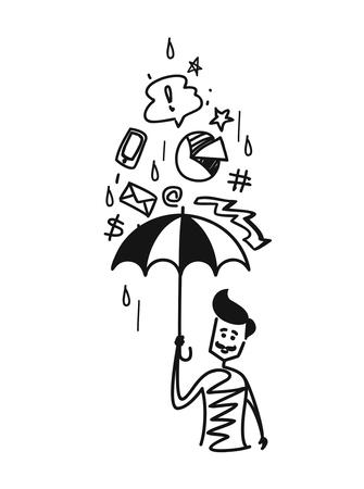Man holding umbrella under the rain of doodles