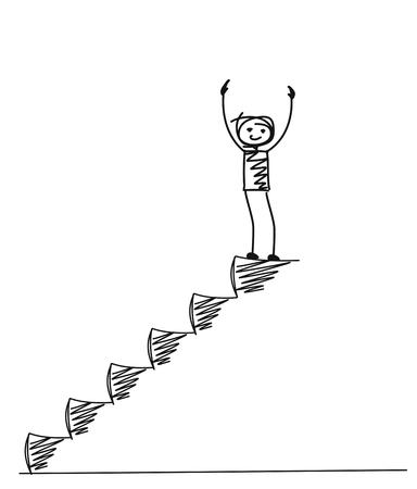 Człowiek na schodach, kreskówka ręcznie rysowane tło wektor. Ilustracje wektorowe