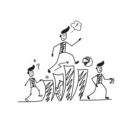 Man climbing Up stairs and thinking financial success symbol, Cartoon Hand Drawn Sketch Vector illustration.