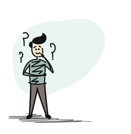 Man looking at the question marks, Cartoon Hand Drawn Sketch Vector illustration.